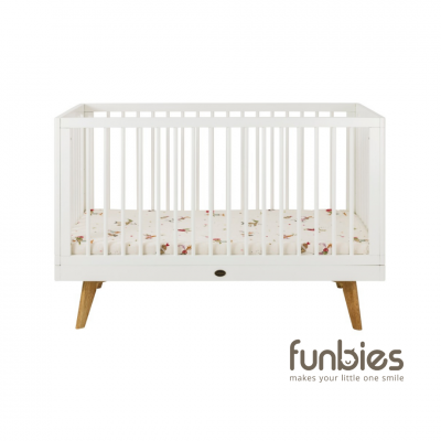Viggo Baby Cot with Fixed Side Set (White)