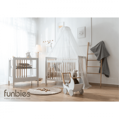 Clover Series (Clover Baby Cot + Clover Changing Table + Mattress + Mosquito Net)- White