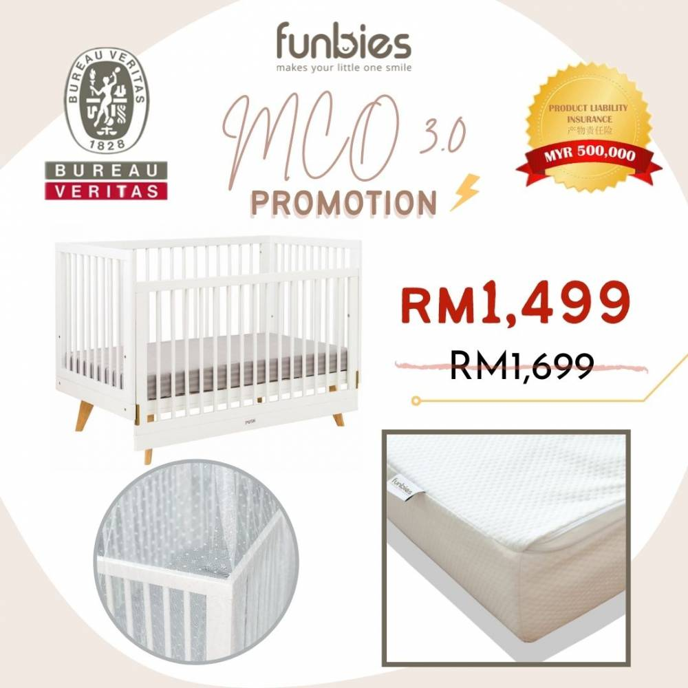 Viggo Baby Cot Set  (White)
